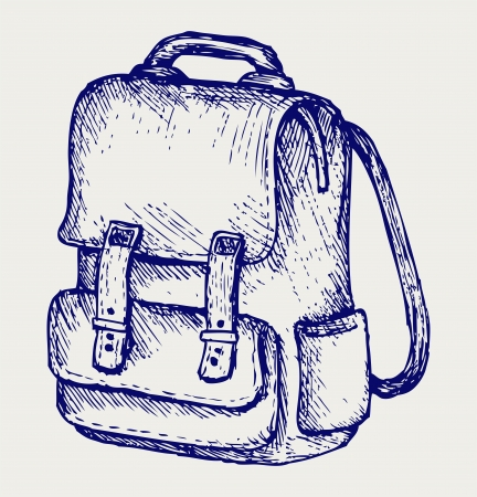 scratchy: School backpack. Doodle style Illustration