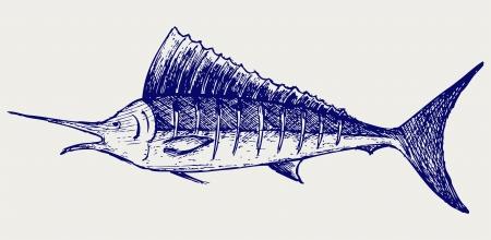 sailfish: Pesce vela pesci di mare. Doodle stile