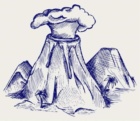 Exploding volcano. Doodle style Vector