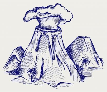 montañas caricatura: Explosión del volcán. Estilo Doodle