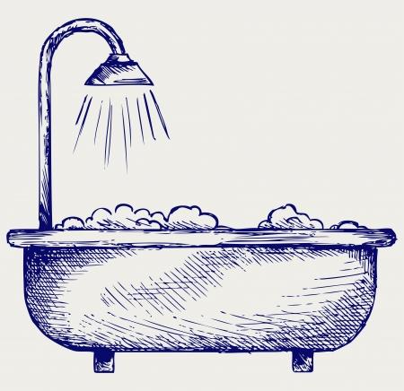 ванная комната: Ванная комната. Doodle стиль Иллюстрация