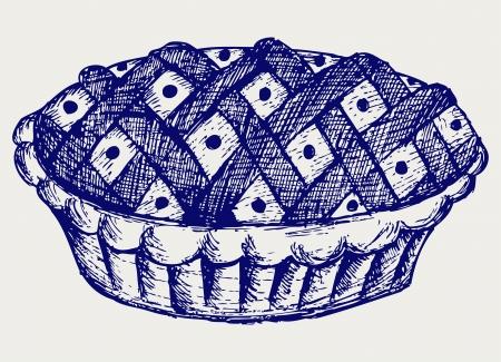 homemade cake: Pie. Doodle style Illustration