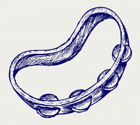 pandero: Pandereta. Estilo Doodle