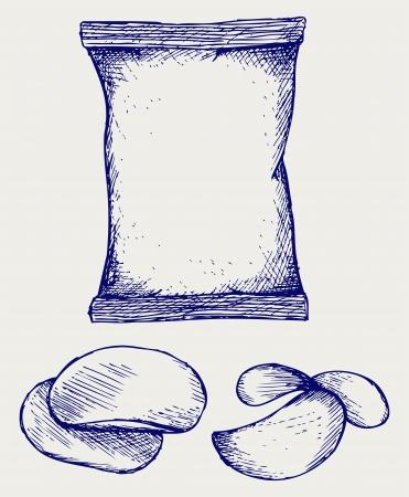 감자 칩 및 포장. 낙서 스타일