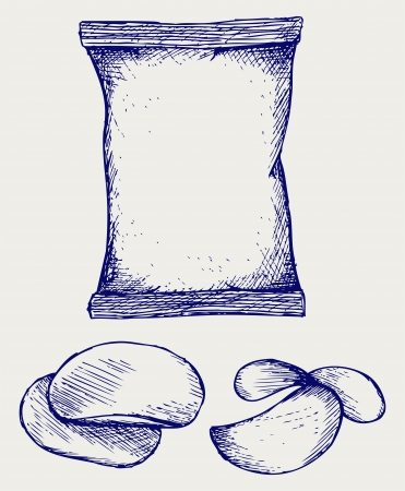 Potato chips and packaging. Doodle style Vector