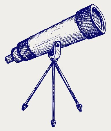 Telescope in tripod. Doodle style Vector