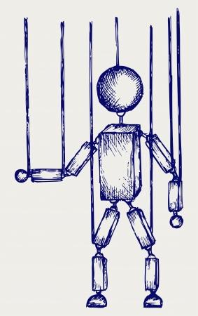 marionetta: Burattino di legno. Doodle stile