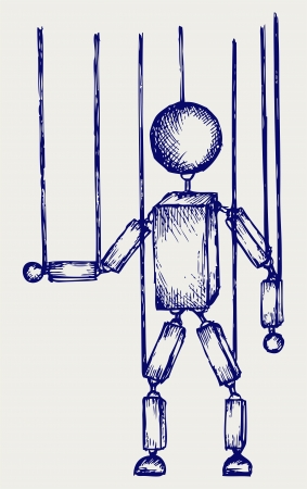 marioneta: Marioneta de madera. Estilo Doodle