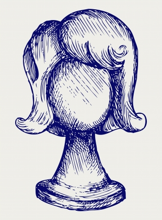 cartoon hairdresser: Wig on mannequin head. Doodle style