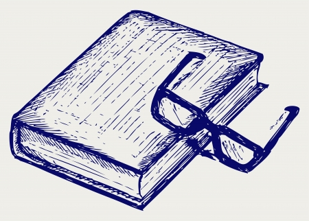 Book and glasses. Doodle style Vector