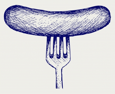 cooked sausage: Grilled sausage on fork. Doodle style