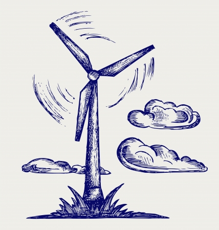windpower: Windmill and clouds. Doodle style Illustration