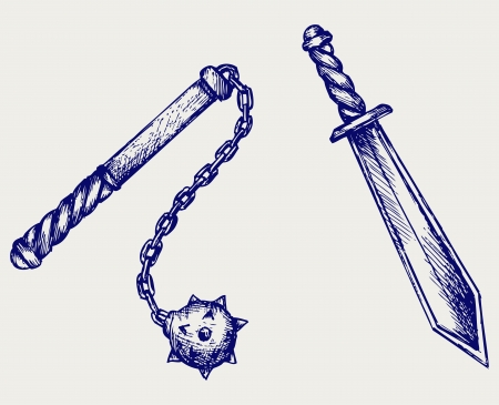 mace: Sword and mace. Doodle style Illustration
