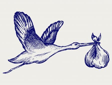 cicogna: Cicogna e bambino. Doodle stile Vettoriali