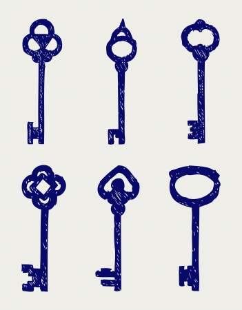 Antique keys collection. Doodle style