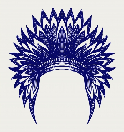 indian chief headdress: Native american indian copricapo. Doodle stile