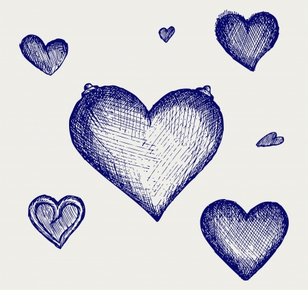 heart sketch: Sketch pencil. Heart. Doodle style