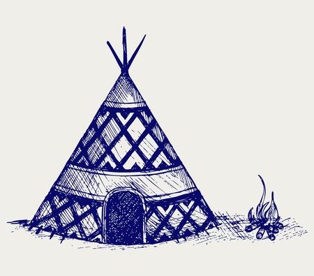 aborigen: Indian tipi. Estilo Doodle
