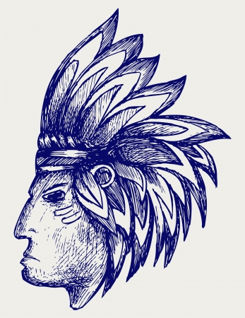 Portrait of american indian. Doodle style Vector