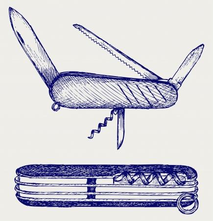 esploratori: Coltellino svizzero. Doodle stile Vettoriali
