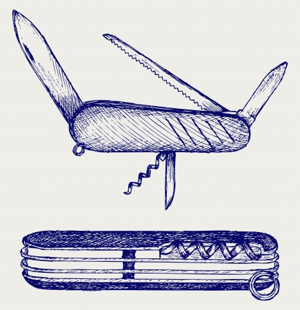 multifunction: Swiss army knife. Doodle style