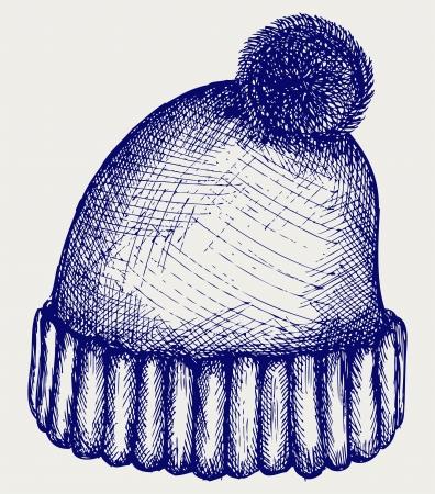 Wintermütze. Doodle-Stil