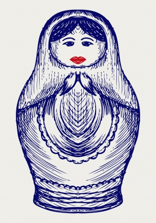 matriosca: Russian dolls. Doodle style