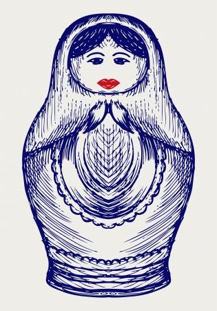 matroushka: Russian dolls. Doodle style