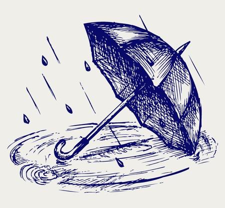 rippled: Gocce di pioggia ondeggiano in pozzanghera e ombrello. Doodle stile Vettoriali