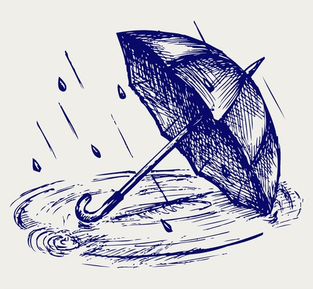 Rain drops rippling in puddle and umbrella. Doodle style Vector