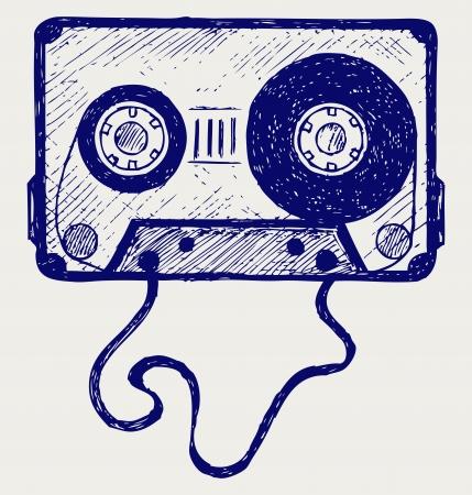 Audio cassette tape. Doodle style Vector