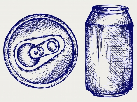 aluminum can: Beer can. Doodle style Illustration