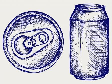 jarra de cerveza: Lata de cerveza. Estilo Doodle