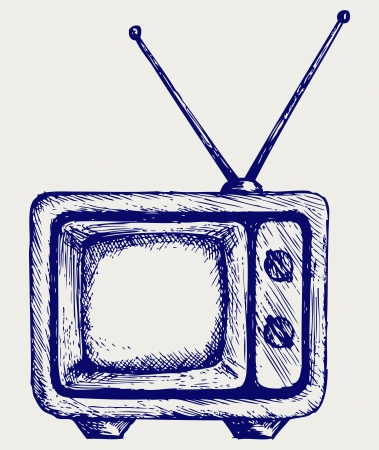 television aerial: Retro TV. Doodle style Illustration