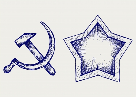 Soviet star icon. Doodle style Stock Vector - 18162586