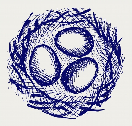 creative egg painting: Eggs in nest. Doodle style