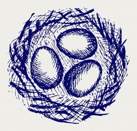 Oeufs dans le nid. Le style Doodle