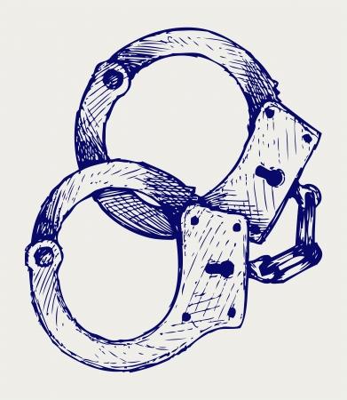 Metallic handcuffs. Doodle style Vector