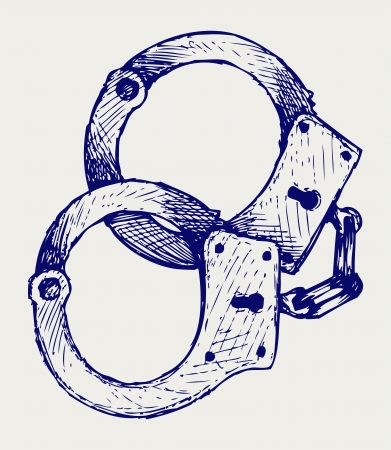 Metallic handcuffs. Doodle style Illustration