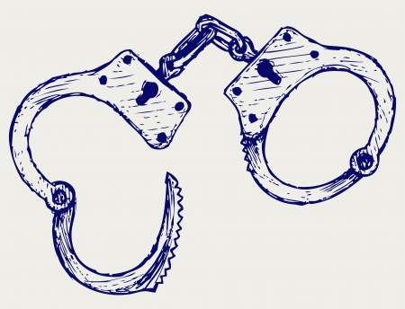 enforcement: Metallic handcuffs. Doodle style Illustration
