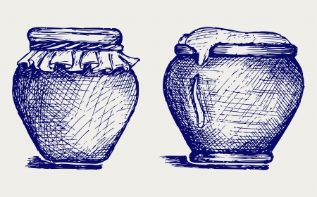 Pot of honey. Doodle style. Vector EPS 8 Stock Vector - 18162599