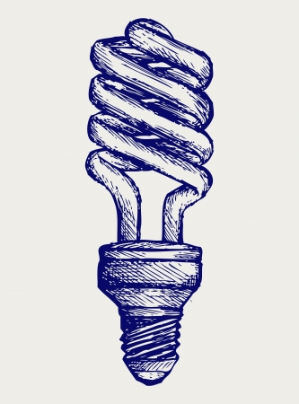 Energy saving light bulb. Doodle style. Vector EPS 8 Vector