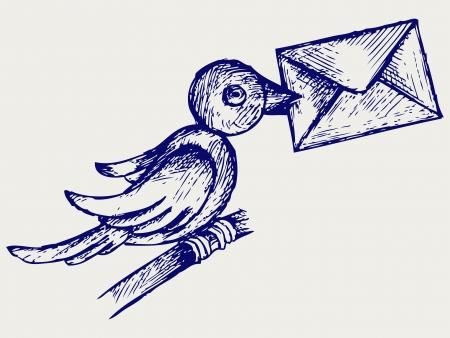 paloma caricatura: Paloma Postal. Estilo Doodle. Vector EPS 8