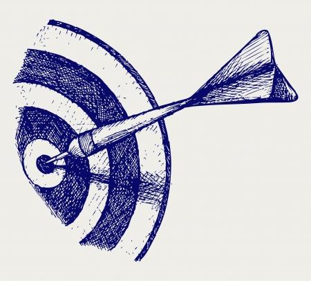 Arrow in target. Doodle style. Vector EPS 8 Çizim