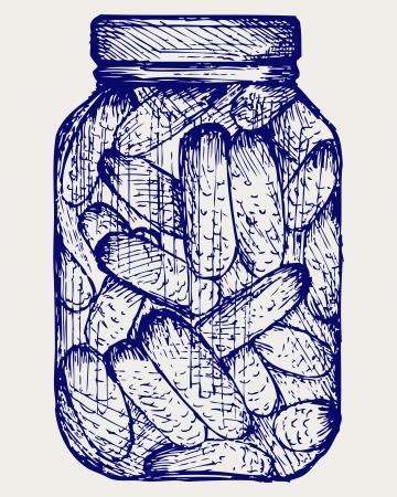 Preserved cucumbers in a jar. Doodle style. Vector EPS 8 Stock Vector - 18162588