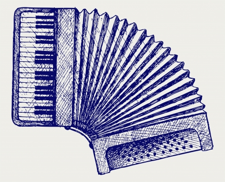 acorde�n: Accordion. Estilo Doodle. Vector EPS 8 Vectores