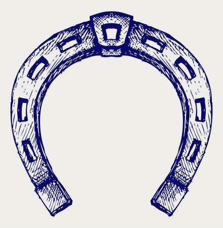 zapatos caricatura: Horseshoe. Estilo Doodle