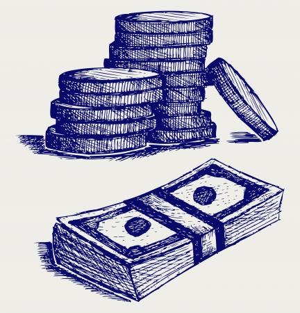 달러 지폐와 동전입니다. 낙서 스타일