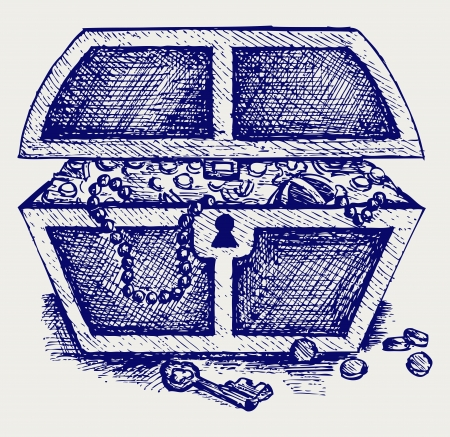 treasure chest: Jewellery and a box. Doodle style