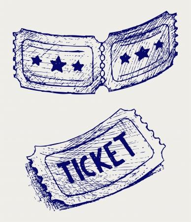 raffle ticket: Ticket. Doodle style